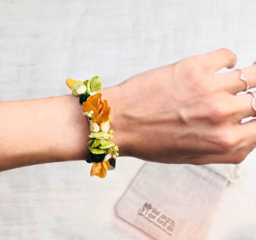 Pulsera Flores preservadas para testigo de boda