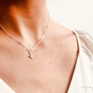 Collar De Plata Bolitas Estrella