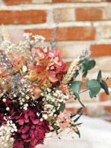 Ramo Moira Flores Preservadas en tonos granates, rosas, verdes, blancos y granates