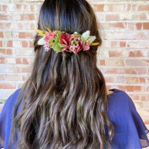 Tocado de Flores Preservadas en varias tonalidades hecho en estilo para recogido o pelo suelto