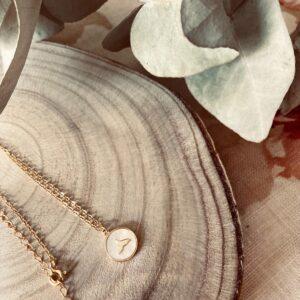 Collar de plata bañado en oro cola de ballena en nacar en rodaja de madera