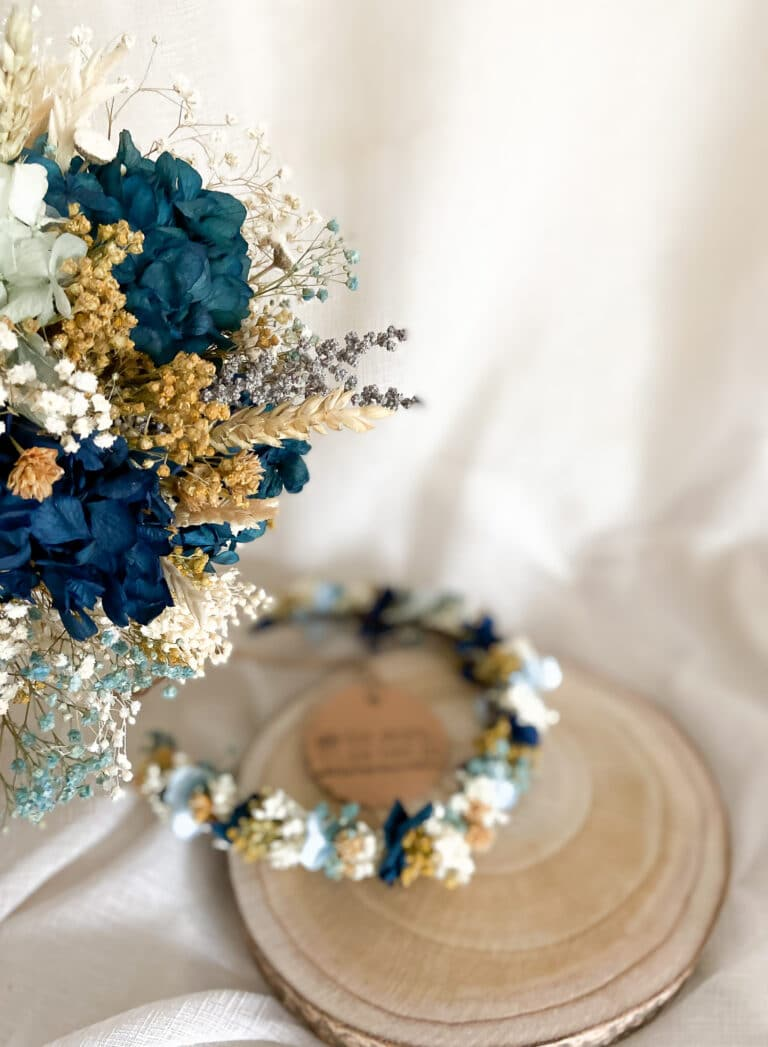 Ramo de novia flores preservadas para novias con tocado de corona de flores