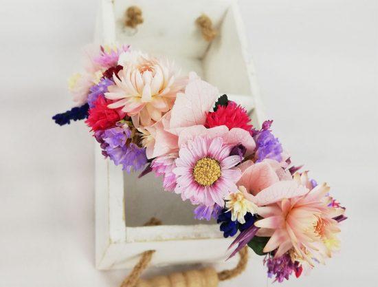 Tocado Diadema Floral. Flores Preservadas