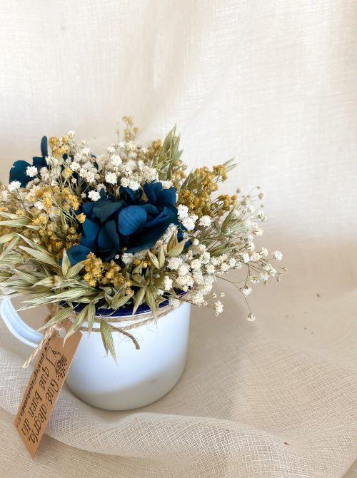 Centro de flores pack talleres florales en tacita zinc