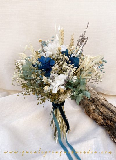 Ramo Preservado Novia en tonos azules y blancos